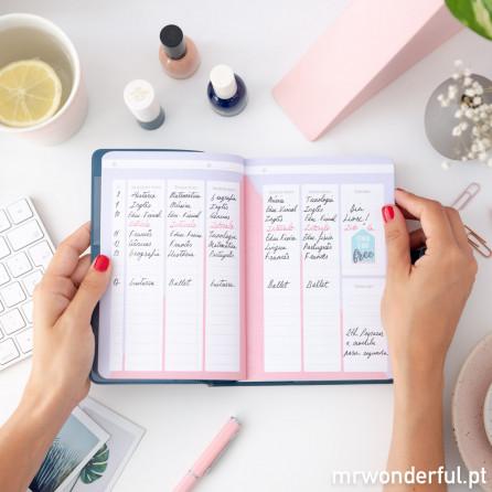 Agenda clássica pequena 2018-2019 Vista diária - Coisas que prometo terminar (PT)
